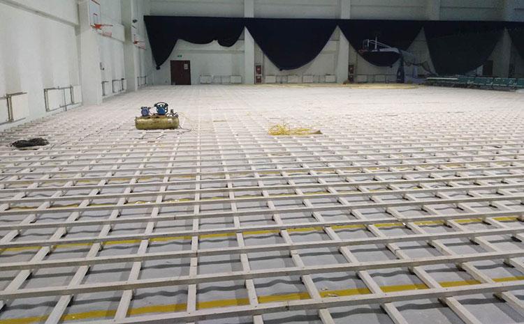 杭州柞木体育场地板图片